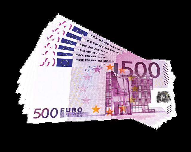 vějíř bankovek, eura